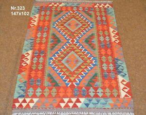 Handgewebter Orient Kelim Afghan Nr.323 - 147x102cm aus 100% Wolle