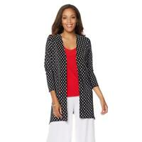 Slinky Brand 3/4 Sleeves Open-Front Pleated Cardigan Black/White Small Size HSN