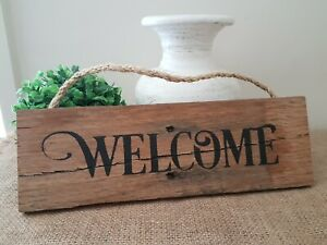 BLACK WELCOME WOODEN SHABBY COUNTRY WALL SIGN PLAQUE
