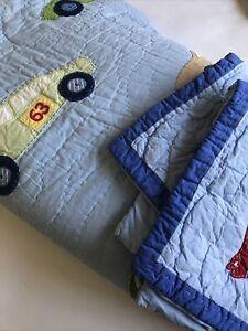Pottery Barn Kids Full Queen Quilt Set w 2 Shams Race Cars Comforter Blanket