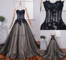 Black Applique Sheer Corset Quinceanera Dress Prom Ball Gown Wedding Gown Custom