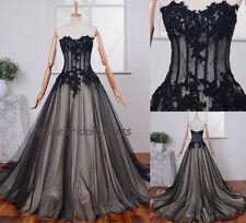 Black Applique Sheer Corset Quinceanera Dress Prom Ball Gown Wedding Gown Custom