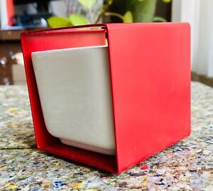Italian Mod Planter White Red Ceramic Metal Mid-Century Modern Sake Cup Desk 60s