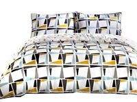 GEOMETRIC TRIANGLES SHAPES PIPED BLUE 180TC 100% COTTON KING SIZE DUVET COVER