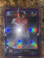 2018 BOWMAN CHROME DRAFT WILL BANFIELD RC AUTO PURPLE REFRACTOR #d /250 ! New