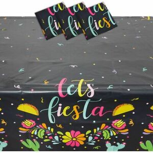 Let's Fiesta Plastic Tablecloth for Cinco de Mayo (Black, 54 x 108 in, 3 Pack)
