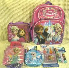 "Frozen Anna & Elsa 16"" Backpack,Lunch Bag,Party Bags,Jump Rope,Puzzle,Lip Gloss"