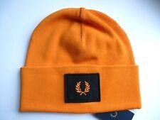 Genuine FRED PERRY Tangerine Deep Cuff Logo BEANIE HAT Toque UNISEX New Tags