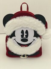 Disney Parks Santa Mickey Mouse Mini Backpack Red Plush By Loungefly NWT