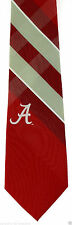 Alabama Crimson Tide Mens Necktie University College Logo Plaid Neck Tie New