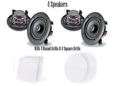 """Quantity 4 Pyle PDIC66 6.5"""" In-Wall/In-Ceiling Speakers 200W 2-Way Flush Mount"""