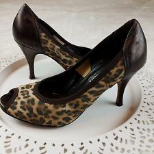 DONALD J PLINER Couture 6.5 M Brown Leopard Print Peep-toe Heels Pumps Shoes DJP