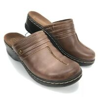 Women's Clarks Bendables Brown Leather Slip on Loafer Clogs Shoes - Size 6 M