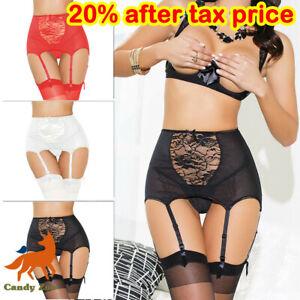 Women Sexy Lingerie High Waist Lace Suspender Belt Garter Stocking Set Plus Size