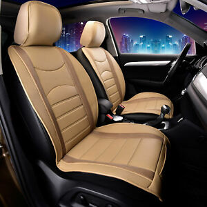 Leatherette Cushion Pad Seat Covers Front For Auto Car SUV Van Beige Brown
