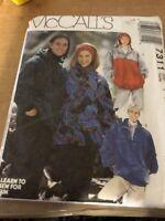 McCall's Pattern 7311  Men Women KNIT pullover top hooded jacket headband S M L