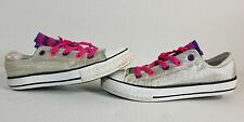 Converse™ ALL STAR slvr Sparkle Glitter Shoes ~ Chuck Taylors Youth Sz 2 euc pnk