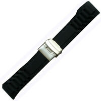 New Black Rubber Curved Strap Band Watch 22mm Diver New Black Silicone Clasp