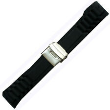 New Black Rubber Curved Strap Band Watch 20mm Diver New Black Silicone Clasp