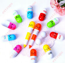 Cool 6pcs Face Pill Ball Point Pen Telescopic Vitamin Capsule Ballpen Stationery