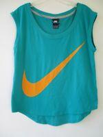 Nike Women's Size Medium Cotton Sleeveless Solid Blue T-Shirt