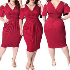 Plus Size Women Evening Party Prom Gown Formal Bridesmaid Cocktail Midi Dress