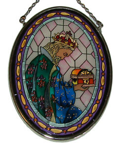 "Melchior Sun Catcher Amia Wise Man 3.25"" x 4.5"" Glass Small Oval New Christmas"