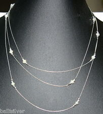 "60"" 153cm Sterling Silver 925 Chain, Laser Cut Beads, Freshwater Pearls NECKLACE"