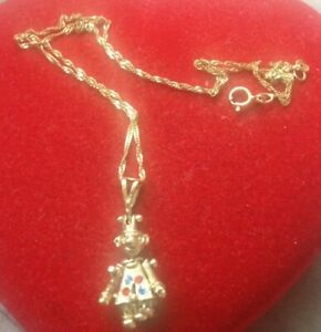 9ct gold Clown Articulated Movable Pendant Necklace 4g