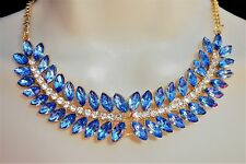 Blue Diamante Gold Bib Statement Necklace Chain Jewellery Crystal Bling Lady B6