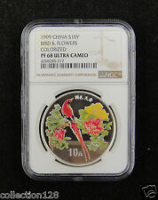 CHINA Silver Coin 10 Yuan 1999, Colorized, Bird & Flowers, NGC PF 68