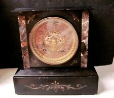Vintage Ansonia Mixed Marbles Mantle Clock, Open Escapement With A Bronze Dial