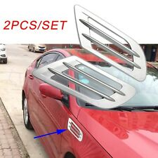 2X Silver Car Motor Body Door Fender Moulding Air Vent Inlet Grille Decoration