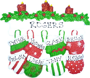 Personalised Christmas Decorations/Ornaments - Mitten family of 6 to 12
