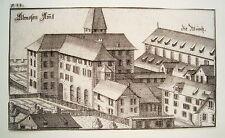 Zürich Augustiner Kloster  Schweiz Bluntschli  echter alter Kupferstich 1742 n2