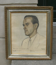 Mid Century Portrait.  Handsome man with dimpled chin. Signed + dated 1953.