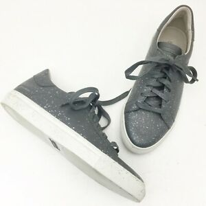 SKECHERS Vaso Pintar Gray Leather Silver Spatter Lace Up Comfort Sneakers Size 7