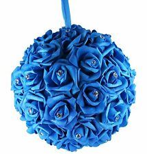 "10"" TURQUOISE Hanging Foam Pomander Kissing Rose Wedding Ball w/ Acrylic Diamond"