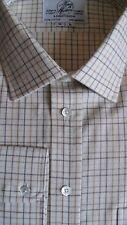 """Harvie & Hudson pequeño de algodón cepillado 18.5/35"""" Marrón/Carbón Check de Superdry de puño S/"""
