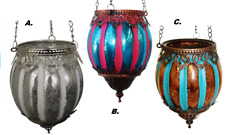 Moroccan Hanging Glass Metal VOTIVE Candle Holder LANTERN Tealight GARDEN Lamps