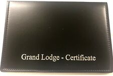 BLACK MASONIC LEATHER CERTIFICATE HOLDER - in faulk Leather look stitch -