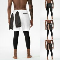 Summer Mens 2 in 1 Security Shorts Quick Drying Gym Legging  With Zipper Pockets