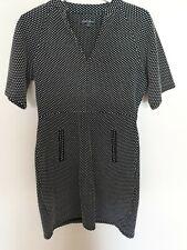 Next Dress Black White Dress Career Work Office Polka Dot Smart Pencil UK 12