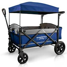 Wonderfold X4 Push Pull 4-Passenger Quad Stroller Wagon Navy NEW