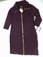 new $134 = Womens plum knit DRESS = ELLEN TRACY = LARGE = te24