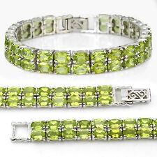Sterling Silver 925 Genuine Natural Oval Apple Green Peridot 2 Row Bracelet 7In