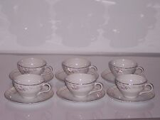 Set of (6) Gold Standard Genuine Porcelain China Cups & Saucers (12 Piece)