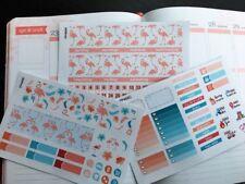 PP469 -- Pink Blue Flamingo Monthly Kit Life Planner Sticker Erin Condren 3 pcs