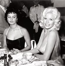 SOPHIA LOREN & JAYNE MANSFIELD AT A PARTY IN 1957- 8X10  PHOTO