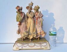 GORGEOUS ANTIQUE AMPHORA PORCELAIN THREE VICTORIAN BEAUTIES GOSSIPING FIGURINES